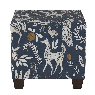 pattern fairland square storage ottoman blue animal print threshold