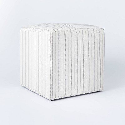 lynwood square upholstered cube stripe white threshold designed with studio mcgee