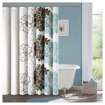 jane floral cotton shower curtain blue brown