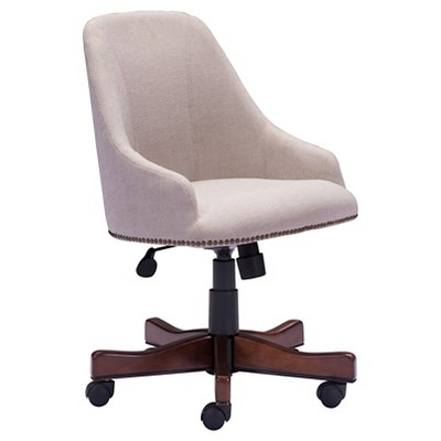 High Back Nail Head Upholstered Office Chair  Beige  ZM