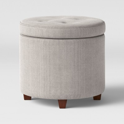 round tufted storage ottoman textured weave gray threshold