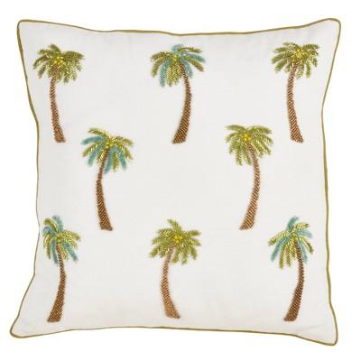 poly filled beaded palm tree pillow white saro lifestyle