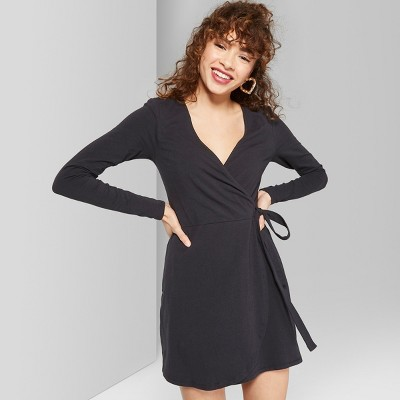 Women's Long Sleeve Knit Wrap Dress - Wild Fable™ Black