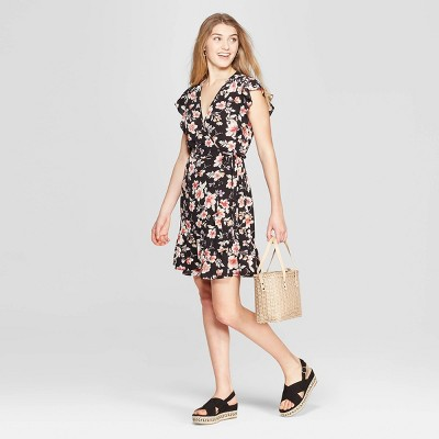 Women's Floral Print Short Sleeve Deep V-Neck Ruffle Bottom Wrap Dress - Xhilaration™ Black