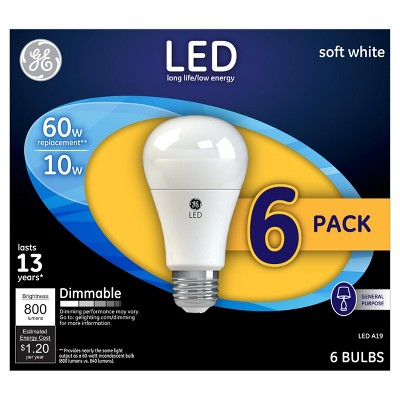 General Electric 6pk A19 60W LED Bulb Soft White