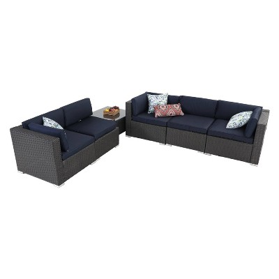 6pc patio furniture set wicker navy captiva designs