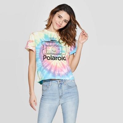 Women's Polaroid Short Sleeve Cropped T-Shirt (Juniors') - Tie Dye