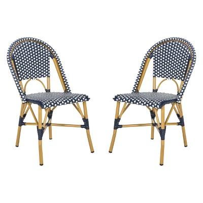 salcha indoor outdoor french bistro stacking side chair navy white safavieh