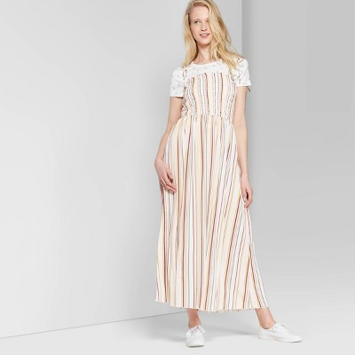 Women's Striped Sleeveless Tie Strap Smocked Top Maxi Dress - Wild Fable™ Cream/Rose