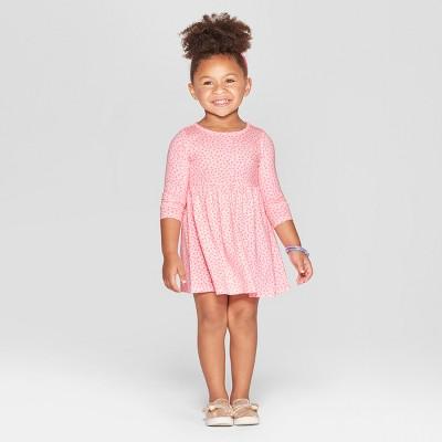 Toddler Girls' Heart All Over Print A-Line Dress - Cat & Jack™ Pink