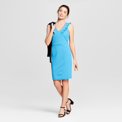 Women's Sleeveless Ponte Ruffle V-Neck Sheath Dress - A New Day™