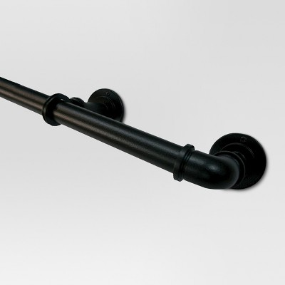 120 170 pipe french curtain rod matte black threshold
