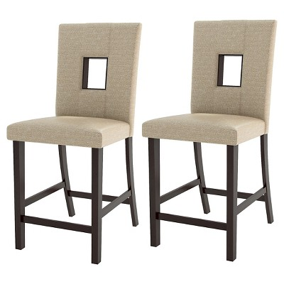 upholstered counter height chairs punisher skull adirondack chair plans bistro dining wood woven cream set of 2 corliving target