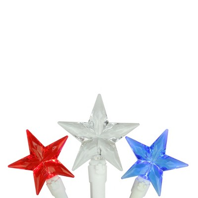 Northlight 30 Patriotic Red, White and Blue LED Star String Lights - 7ft White Wire