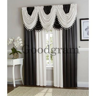 goodgram hyatt complete 9 piece fancy window treatment set black white