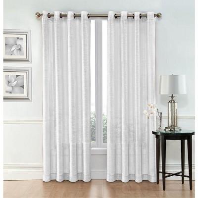 goodgram whittier metallic sparkle semi sheer grommet curtain panels 54 in w x 84 in l white
