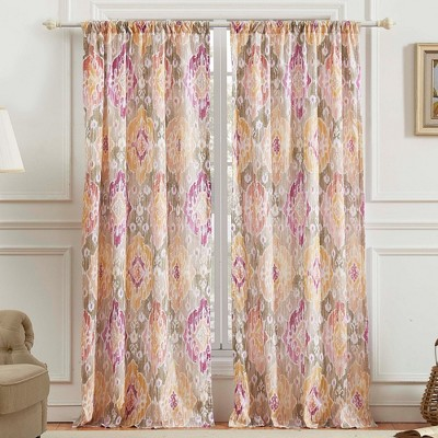 barefoot bungalow ibiza medallions fashionable 4 piece window panel tie back with 3 rod pocket 42x84 blush