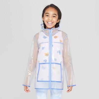 Girls' Long Sleeve Glitter Rain coat - Cat & Jack™