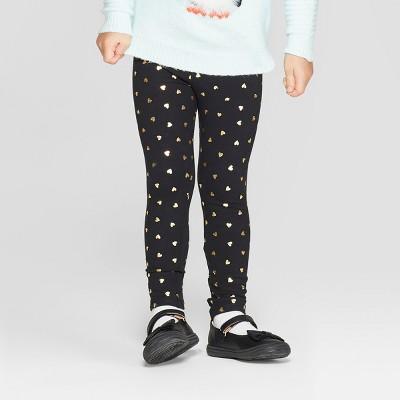 Toddler Girls' Heart Leggings - Cat & Jack™ Black/Gold