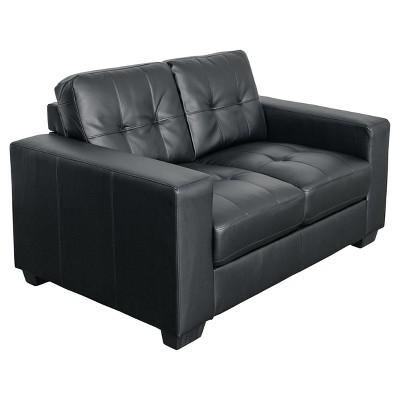 Tufted Seat & Backrest Bonded Leather Loveseat - CorLiving