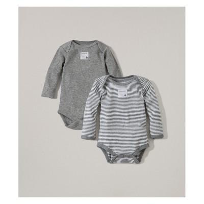 Burt's Bees Baby® Organic Cotton 2pk Long Sleeve Bodysuit Set - Heather Gray