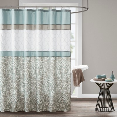 stacie printed embroidered shower curtain blue