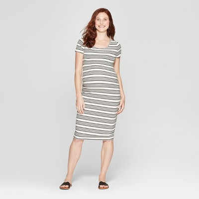 Maternity Striped Short Sleeve Shirred T-Shirt Dress - Isabel Maternity by Ingrid & Isabel™ Sour Cream