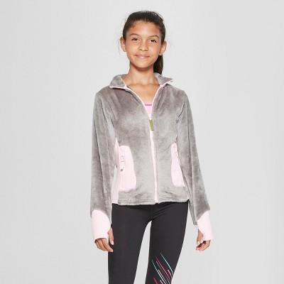 Girls' Long Sleeve Fleece Jacket - C9 Champion® Gray