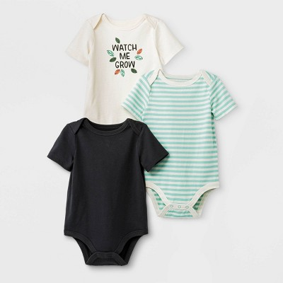 Baby Boys' 3pk Short Sleeve Bodysuit - Cat & Jack™ Black/Green/Cream