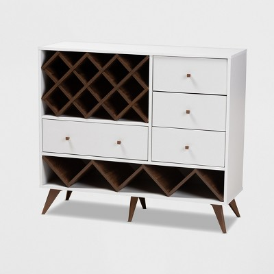 Savino and Walnut Finished Wood Wine Cabinet White/Brown - BaxtonStudio