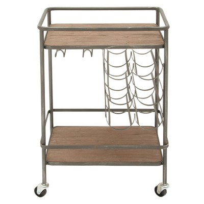 Metal and Wood 2- Tiered Wine Rack Chart Gray - Olivia & May