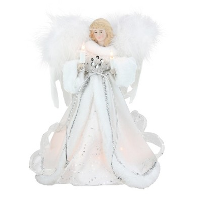 """Kurt S. Adler 12"""" Lighted White and Silver Sequin Angel Christmas Tree Topper - Clear Lights"""