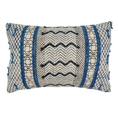 16 x24 boho rug style cotton throw pillow cover blue saro