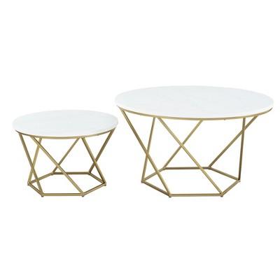 geometric nesting coffee tables white marble gold saracina home