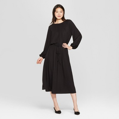 Women's Long Sleeve Maxi Knit Dress - Who What Wear™ Black