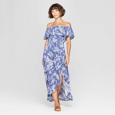 Women's Floral Print Off the Shoulder High-Low Hem Maxi Dress - Xhilaration™