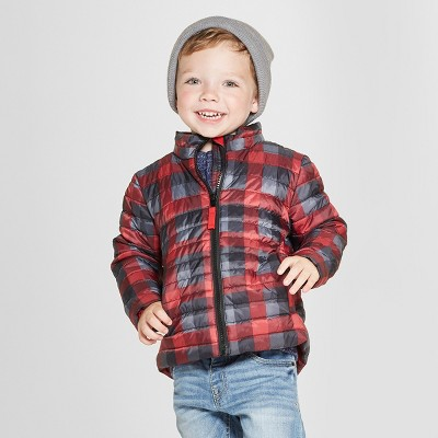 Toddler Boys' Print Midweight Puffer Jacket - Cat & Jack™ Black