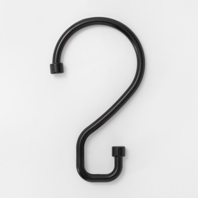 S Hook Without Roller Ball Shower Curtain Rings Matte Black - Made By Design™
