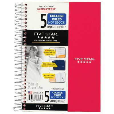 "6ct 5 Subject Spiral Notebook College Ruled 9.5"" x 6"" Classic Colors - Five Star"