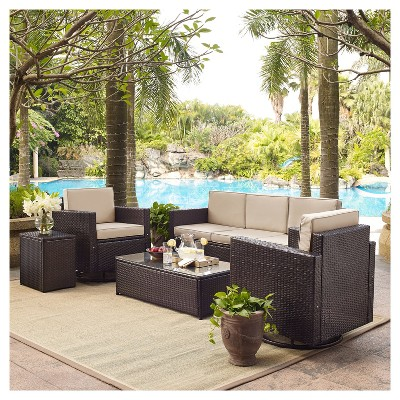 swivel chair sofa set leather club palm harbor 5pc all weather wicker patio conversation w about this item