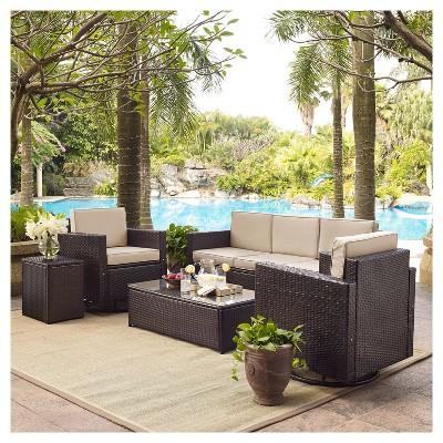 palm harbor 5pc all weather wicker patio conversation set w swivel chairs sand crosley