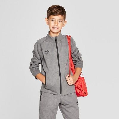 Umbro Boys' Fleece Full Zip Jacket - Industrial Grey