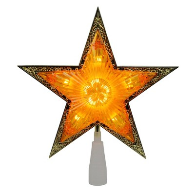 """Northlight 10"""" Lighted Amber and Gold Crystal Star Christmas Tree Topper - Clear Lights"""