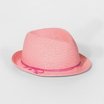 Girls' Wood Beads Band Fedora Hat - Cat & Jack™ Pink