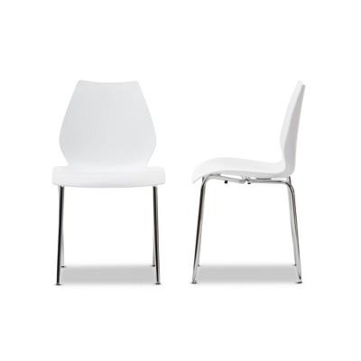 white plastic dining chairs ikea tub chair covers uk overlea modern set of 2 baxton studio target