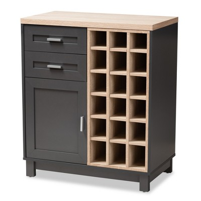 Maxime Light Oak Finished Wine Cabinet Brown/Dark Gray - Baxton Studio