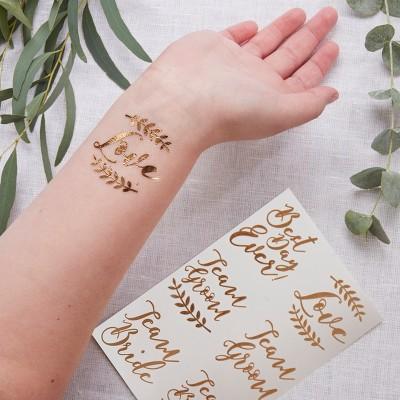 12ct Ginger Ray Rose Gold Temporary Wedding Tattoos Beautiful Botanics