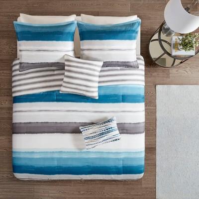 5pc Orren Reversible Print Comforter Set Indigo