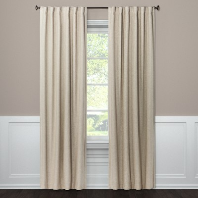 108 x50 aruba linen blackout curtain panel brown linen threshold