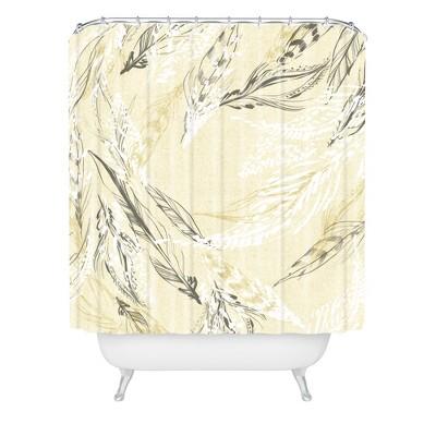 feather linen shower curtain buff beige deny designs
